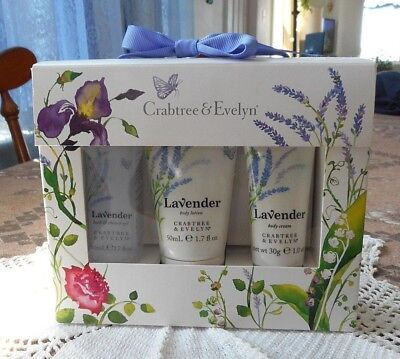 Crabtree & Evelyn Lavender Travel Set ~ Shower Gel, Body Lotion & Cream ~ New