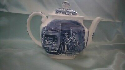 Liberty Blue, Colonial scenes, minute men teapot, blue and white collectors
