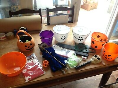 Halloween Job Lot, Buckets, Outfits 7-9yrs, Baby Outfits, Masks, & Accessories