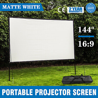 """144"""" 16:9 Home Movie Electric Projector Screen Matte White Pull Down Projector"""