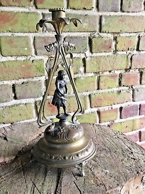 Antique  WMF Art Nouveau  Girl  Signed Centre Piece Epergne Candlestick