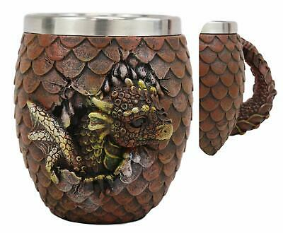 Fantasy Blue Dragon Hatchling Resin Figurine Drinking Mug with Removable stainle