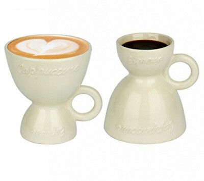 2 x 2 in 1 Multi Coffee Cups Cappuccino Cups White Espresso Latte Macchiato Mug