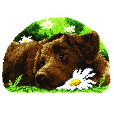 Chocolate Labrador Latch Hook Kit Rug Making Kit By Vervaco 69x46cm