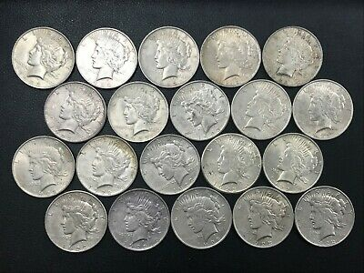 Silver Peace Dollar Lot 20 Average Circulated Mixed Date Coins 90% Silver *N1