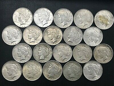 Silver Peace Dollar Lot 20 Average Circulated Mixed Date Coins 90% Silver *N3