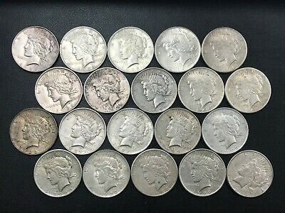 Silver Peace Dollar Lot 20 Average Circulated Mixed Date Coins 90% Silver *N4