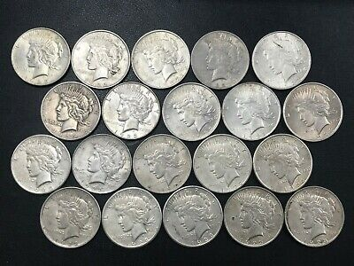Silver Peace Dollar Lot 20 Average Circulated Mixed Date Coins 90% Silver *N5