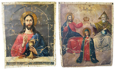 Antique 19th C Russian Double-Sided Hand Painted Gonfalon 57 cm  (Holy Banner)