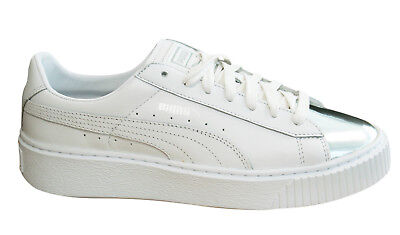 a554328758f Puma Basket Platform Metallic Womens Trainers Lace Up Silver White 366169 01  D93