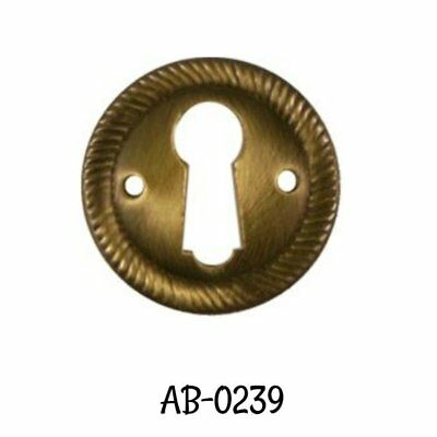 """1"""" Antiqued Keyhole Cover Stamped Brass Round Keyhole Cover with Rope Edging 1"""""""
