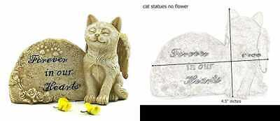 Cat Statue Memorial Pet Antique Stone SMALL Forever In Our Hearts BATH NEW