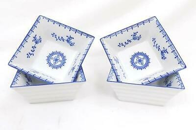 Set of 4 Royal China Blue White Floral Square Cereal Bowls Ribbed