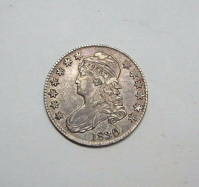1830 Capped Bust/Lettered Edge Half Dollar EXTRA FINE Silver 50c