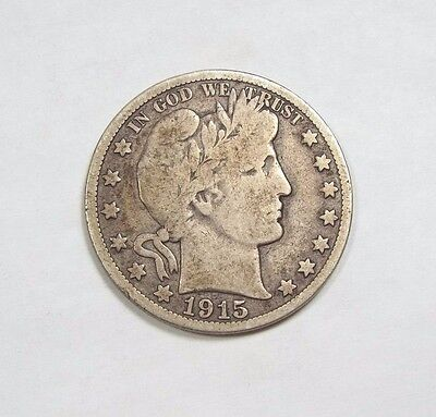 1915-S Barber Half Dollar VERY GOOD Silver 50-Cents