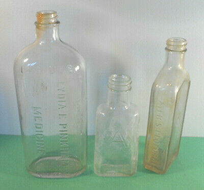 Antique Quack Medicine Bottle lot-Lydia Pinkham, Ayers Pectoral, Ace-glass