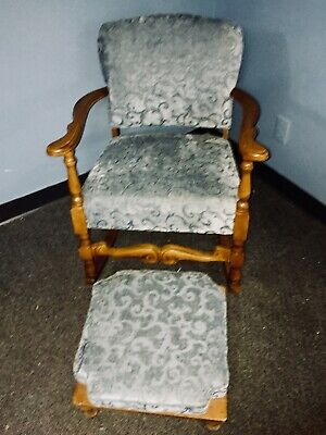 Antique Wood & Upholstered Rocking Chair With Footstool