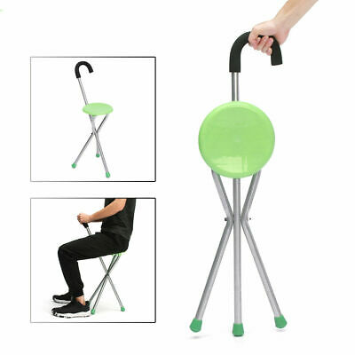 Outdoor Travel Cane Folding Stool Seat Portable Tripod Walking Stick Stool Chair
