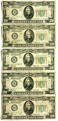 Vintage 1934 Lot Of 5 $20.00 Federal Reserve Bank Of New York Circulated Notes