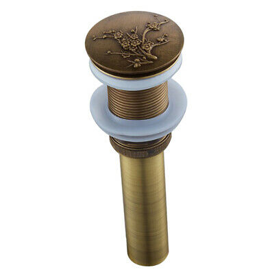 Bathroom Sink Pop Up Drain Assembly without Overflow, Durable, Plum Flower