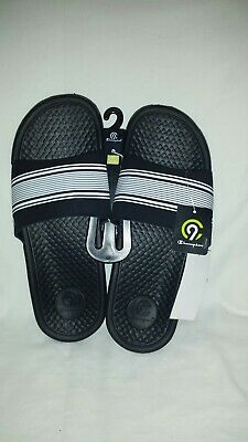 482c1736751c5 Men s Seth Slide Sandals - C9 Champion® - BLACK with White Stripes- Size M
