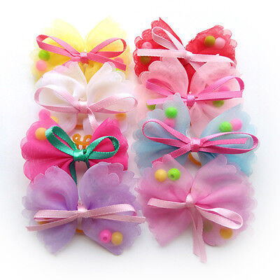 10X Pet Dog Hair Bows Polyester Adorable Pet Grooming Bows Dog Hair Accessories
