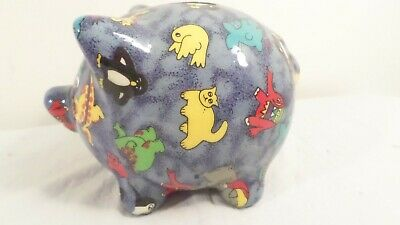 Blue Ceramic Pig Still Piggy Bank with Images of Cats Dinosaurs Birds & More