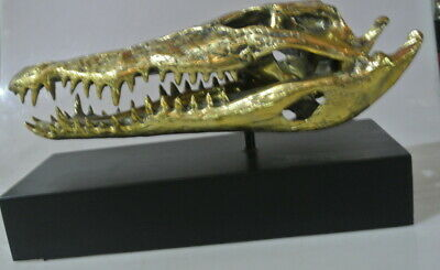 """36cm Crocodile skull 15"""" inches long on black stand solid brass large heavy B"""