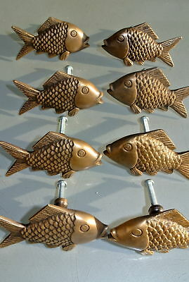 "8 aged ANTIQUE old style FISH Cabinet Door solid pure Brass KNOB Drawer Pull 2""B"