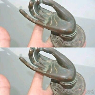 2 large BUDDHA Pull handle hand brass age green door old style knob hook 8cm B