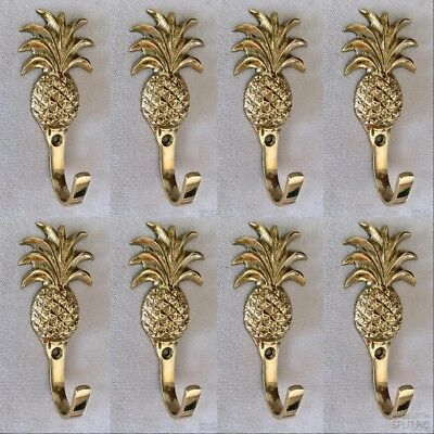 8 small PINEAPPLE solid BRASS HOOK COAT WALL Mount HANG  Polished hook 10 cm B