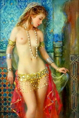 Art Print Sexy Belly Dancer Nudes Oil Painting Giclee Printed on Canvas P1273