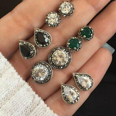 5 Pairs/Set Women Stud Earrings Cubic Zirconia Water Drop Green Black Gemstones