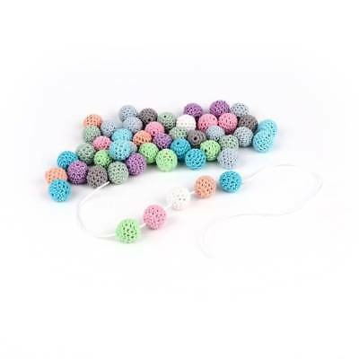 Natural Wooden Crochet Beads Chewable Tooth 10Pcs Nursing Necklace Teething