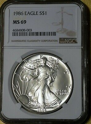 1986 American Silver Eagle –NGC MS 69 – 1 Oz .999 Silver –First Year of Issue!