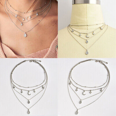 Boho Multi-layer Star Moon Pendant Silver Chain Choker Necklace Women Jewelry