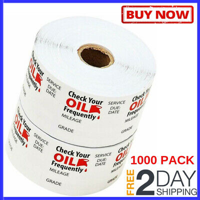 """1000 Pack Static Cling Oil Change Stickers Universal Clear Plastic 1.75"""" x 1.75"""""""