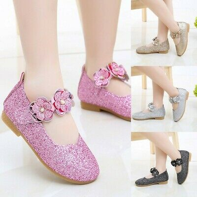 Toddler Chlid Kid Baby Girl Flower Bling Sequins Single Princess Party Shoes UK