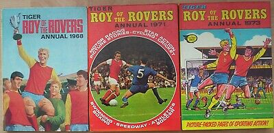 "THREE x  Tiger. ""ROY of the ROVERS"" Annuals. 1968; 1971; 1973. Tidy. Unclipped."