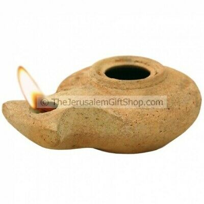 Clay Oil Lamp Replica – Herodian- Jesus Time Handmade in the Bethlehem + 2 Wicks