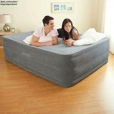 """Queen Size Air Bed Mattress Intex 22"""" with Built-In Electric Pump Raised Aerobed"""