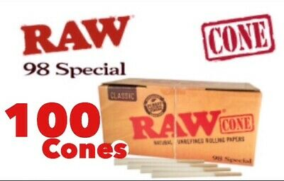 RAW Classic 98 special Size Pre-Rolled Cones (100 Pack) 100%AUTHENTIC