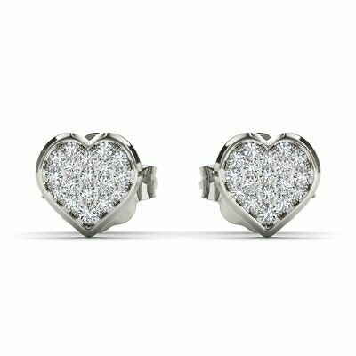 Ladies 14K White Gold Over 1.20 CT Round VVS1 Diamond Heart Shape Stud Earrings