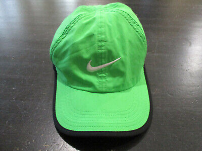outlet store c3693 d008d NIKE Dri Fit Feather Light Strap Back Hat Cap Tennis Running Green Black  Swoosh