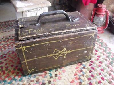 Old Primitive Antique Tool Box Toolbox Hand Made N Stanley Perth AAFA