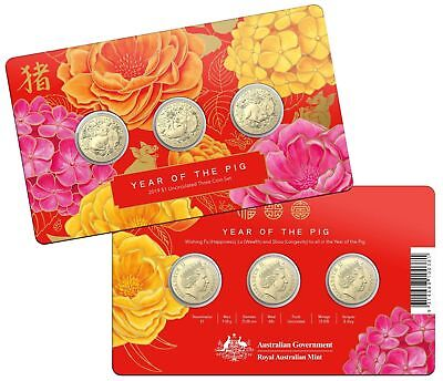 Australia 2019 Lunar Year of The Pig -Set of 3 One Dollar UNC Coins - Carded ..m