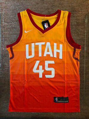07c79d05f6e NWT Donovan Mitchell  45 City Edition Orange Utah Jazz Men s Stitched Jersey