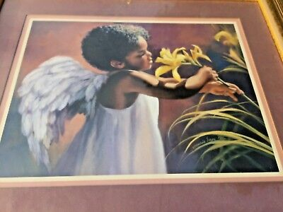 Vintage RETIRED Home Interiors Framed Art  ▬ African American Angel & Lily ❤️j8
