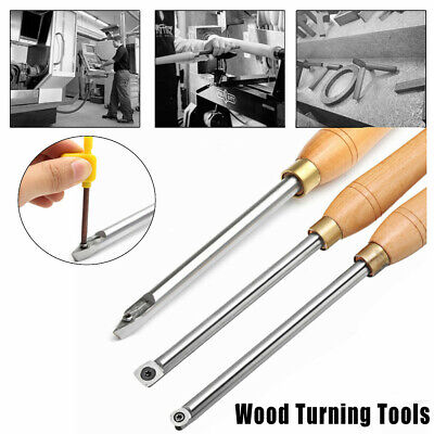Carbide Tipped Wood Turning Chisel Diamond Round Square Insert Lathe Tool Set