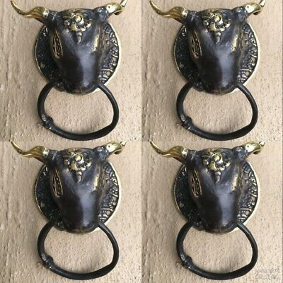4 small bull head heavy Door handle SOLID brass vintage antique style ring hookB